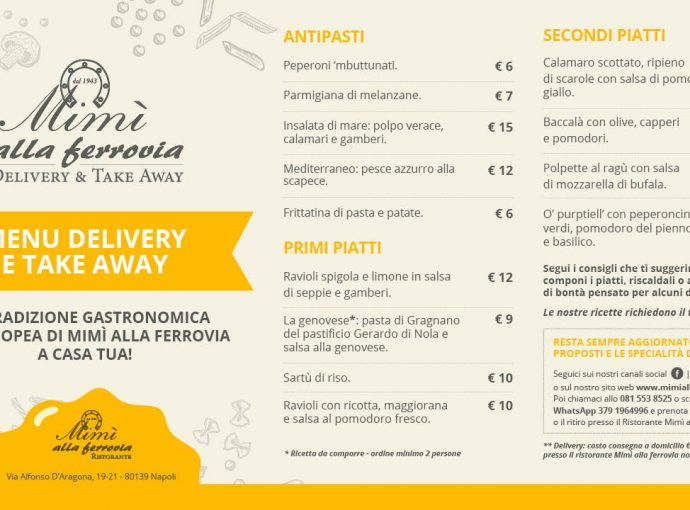 Riprendono i servizi di Delivery e Take Away